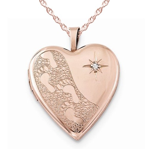 Rose Gold Plated Footprints Heart Photo Locket with Diamond
