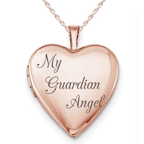 """Sterling Silver Rose Gold Plated """"My Guardian Angel"""" Heart Photo Locket"""