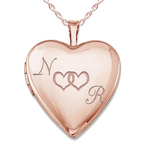 """Sterling Silver Rose Gold Plated """"Together Forever"""" Heart Photo Locket"""