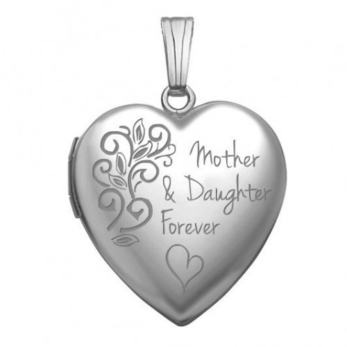 Sterling Silver Mother & Daughter Forever Heart Photo Locket