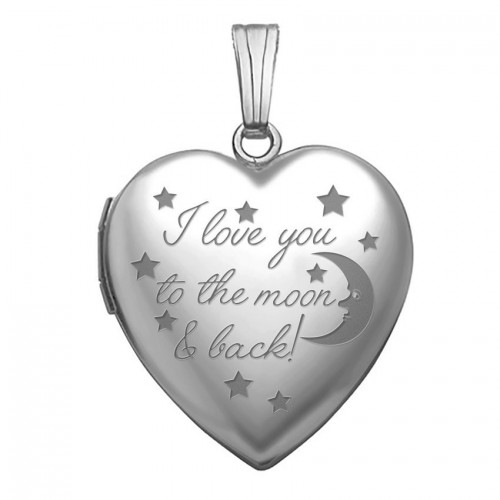 """Sterling Silver """" To The Moon & Back """" Heart Photo Locket"""