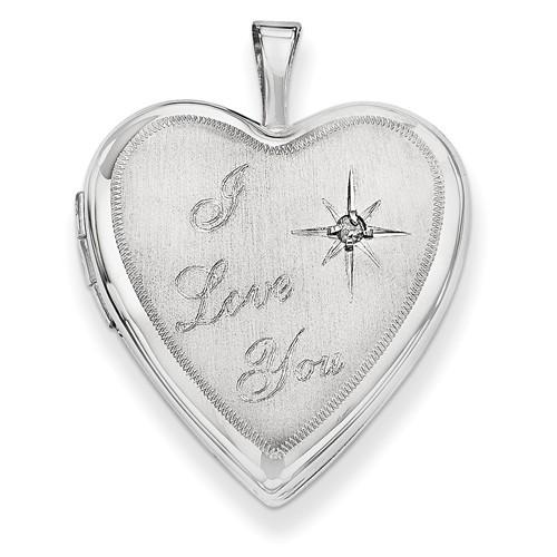 14k White Gold I Love You Heart Photo Locket with Diamond