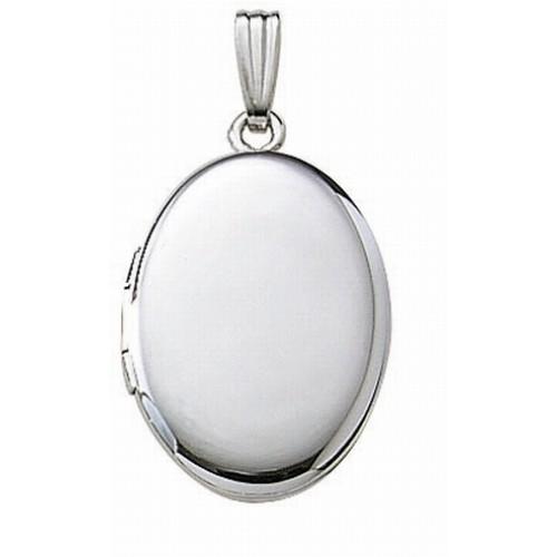 14k White Gold Large Oval Photo Locket