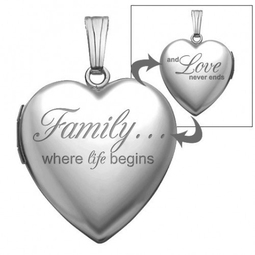 "14K White Gold ""Family Love"" Heart Photo Locket"