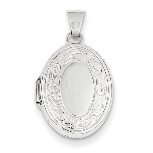 14k White Gold Floral Oval Photo Locket