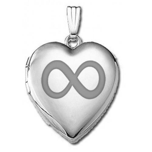 14k White Gold Infinity Heart Photo Locket