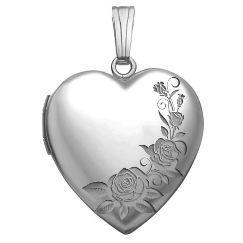 Sterling Silver Roses Heart Photo Locket