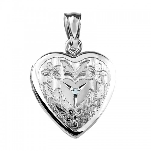 Sterling Silver Floral Heart Photo Locket with Diamond