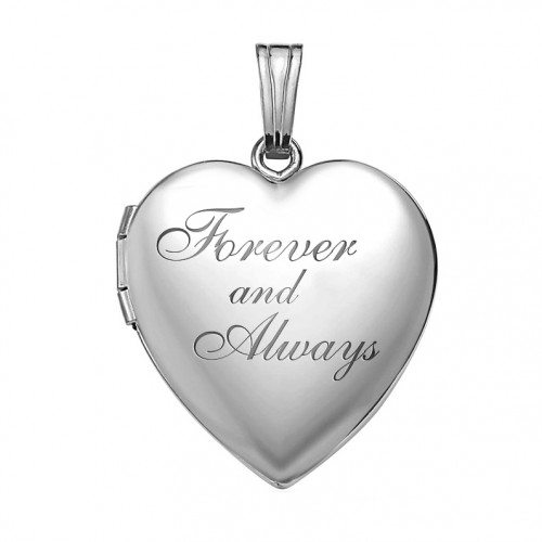 Sterling Silver Forever & Always Heart Photo Locket