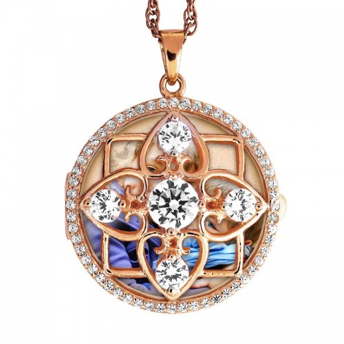 Rose Gold Plated Round Photo Locket with Cubic Zirconias with Chain Included