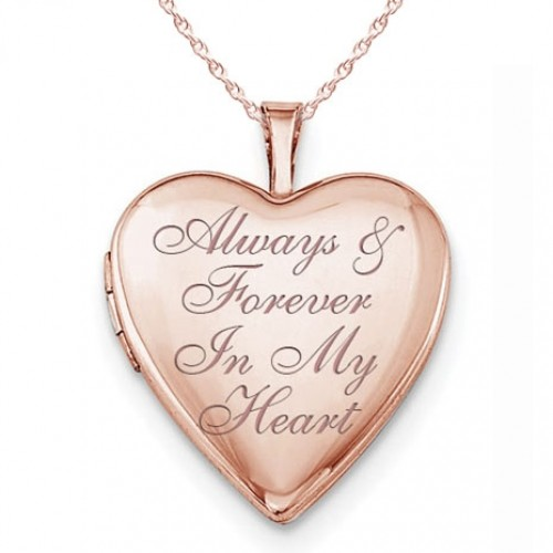 Sterling Silver Rose Gold Plated Always & Forever In My Heart Heart Photo Locket