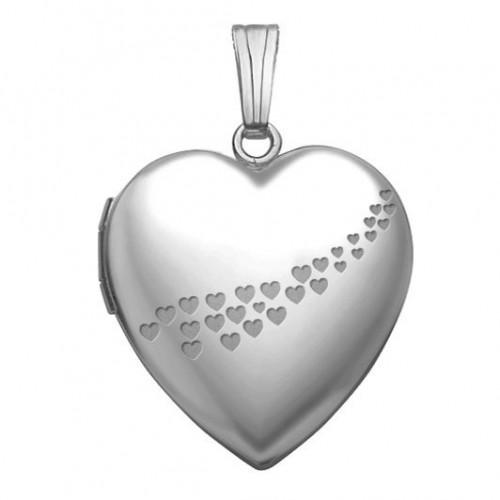 14k White Gold Cascade of Hearts Photo Locket