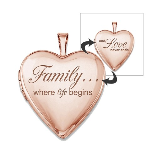 """Sterling Silver Rose Gold Plated """"Family Love"""" Heart Photo Locket"""