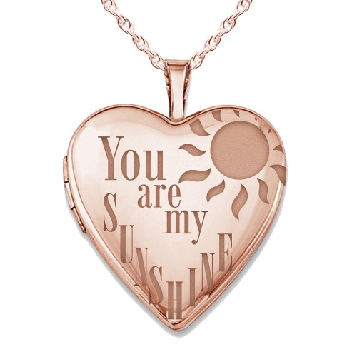 Sterling Silver Rose Gold Plated You Are My Sunshine Heart Photo Locket