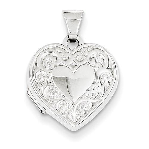 14k White Gold Floral Heart Photo Locket