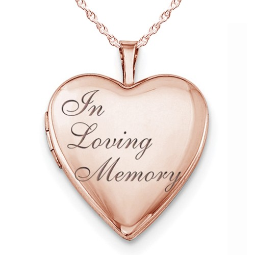 """Sterling Silver Rose Gold Plated """"In Loving Memory"""" Heart Photo Locket"""