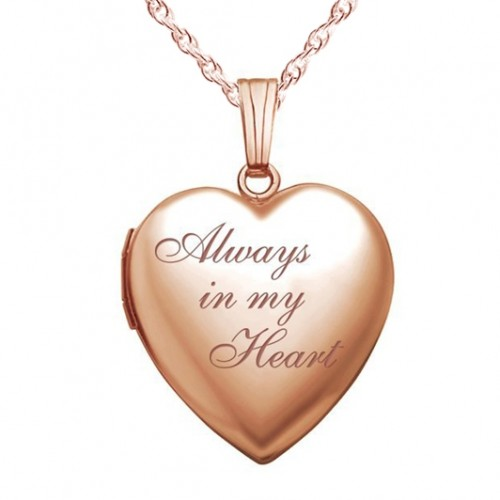 Sterling Silver Rose Gold Plated Always In My Heart Photo Locket