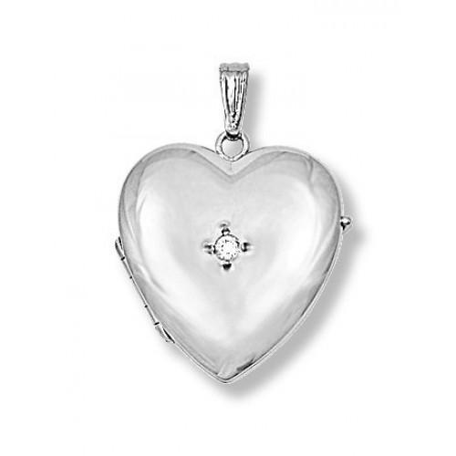 14K White Gold Heart Four Photo Locket with Diamond