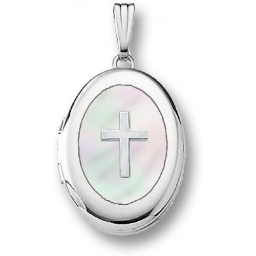 14k White Gold Mother of Pearl Cross Oval Photo Locket