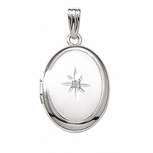 14k White Gold Small Oval Photo Locket with Diamond