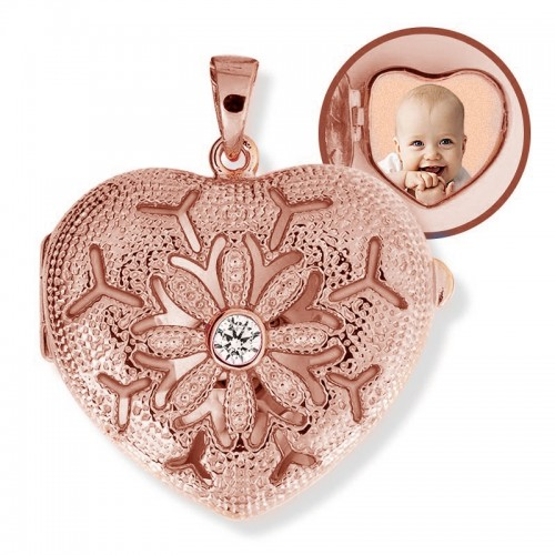 Sterling Silver Rose Gold Plated Locket with Cubic Zirconias