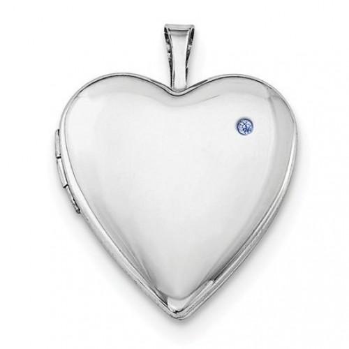 Sterling Silver Birthstone Heart Photo Locket