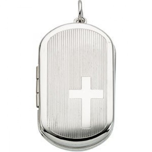 Sterling Silver Dogtag Cross Locket