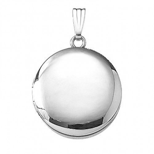 14K White Gold Round Locket - Veronica