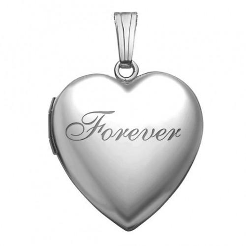 14k White Gold In Loving Memory Heart Photo Locket
