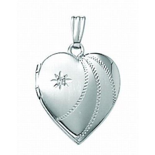 14K White Gold Small Heart Photo Locket with Diamond