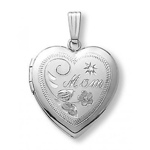 14k White Gold Mom Heart Photo Locket with Diamond