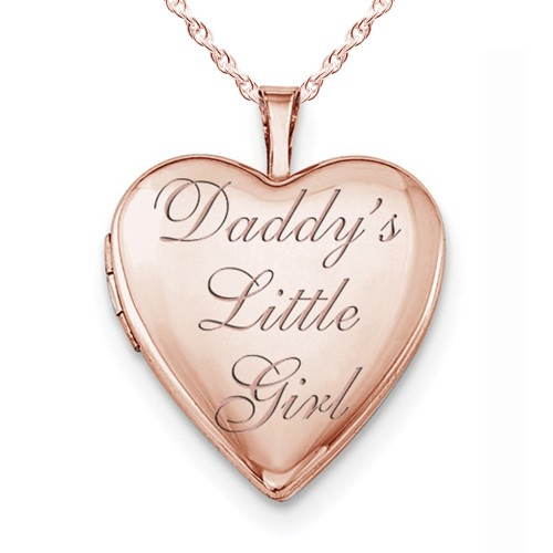 """Sterling Silver Rose Gold Plated """"Daddy's Little Girl"""" Heart Photo Locket"""