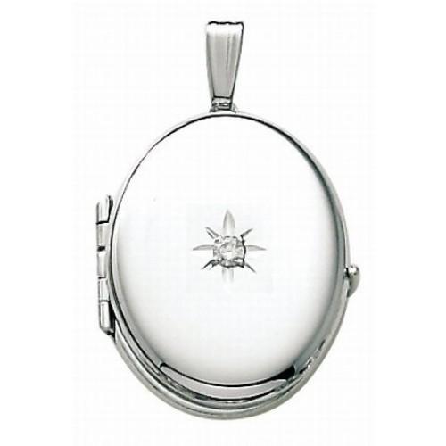 14K White Gold Oval 4 Photo Locket with Diamond