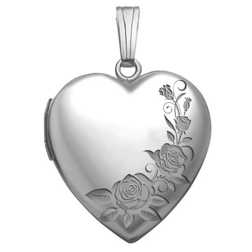 14K White Gold Roses Heart Photo Locket