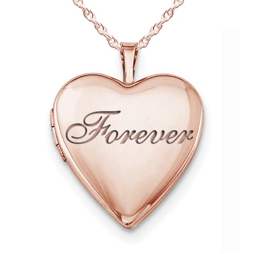 """Sterling Silver Rose Gold Plated """"Forever"""" Heart Photo Locket"""