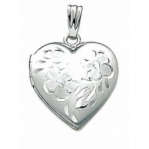 14K White Gold Small Heart Locket