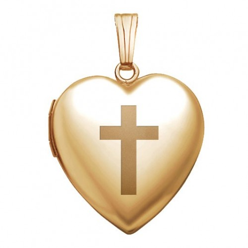 Gold Filled Cross Heart Locket