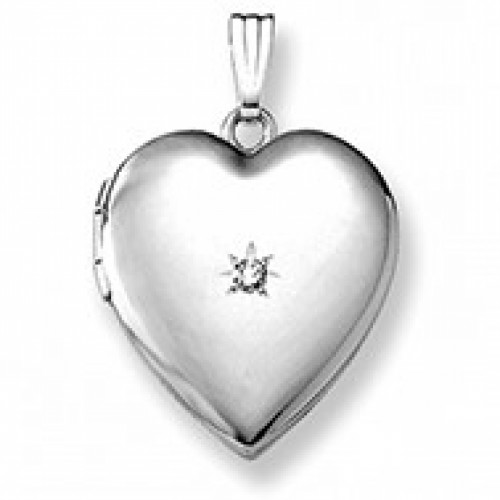 14k White Gold Heart Photo Locket with Diamond