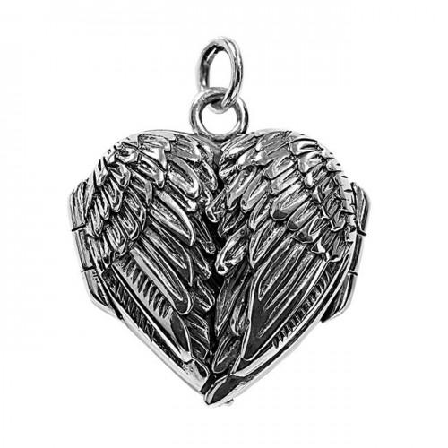 Sterling Silver Angel Wing Heart Photo Locket