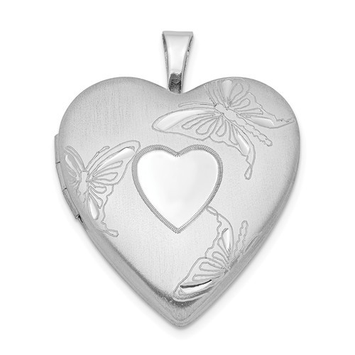 Sterling Silver Small Heart and Butterflies Heart Photo Locket