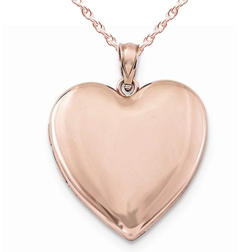 Sterling Silver Rose Gold Plated Classic Heart Photo Locket
