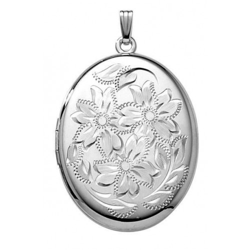 Large Sterling Silver Oval Locket - Marilee