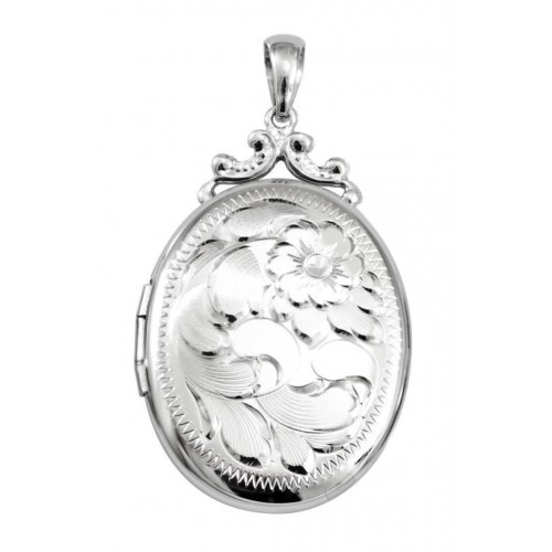 Sterling Silver Engraved Floral Locket - Leona