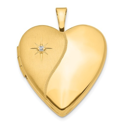 14K Gold Polish And Satin Diamond Heart Photo Locket