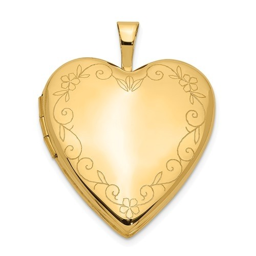 14k Yellow Gold Floral Border Heart Photo Locket
