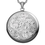 Sterling Silver Large Floral Round Locket - Carmen