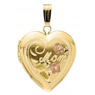 14K Gold Mother Heart Locket