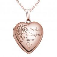 "Sterling Silver Rose Gold Plated ""Mother & Daughter Forever"" Locket"