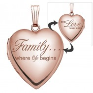14k Rose Gold Family Love Heart Photo Locket