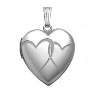 "14K White Gold ""Interlocking"" Heart Photo Locket"